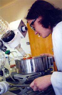 Woman using lab equipment